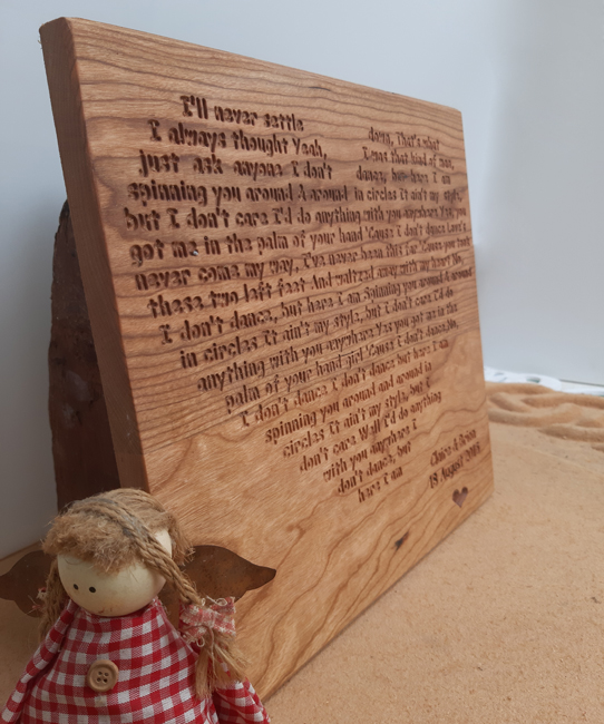 First Dance Engraved Wall Plaque (Large) - Cherry Wood Piece 5