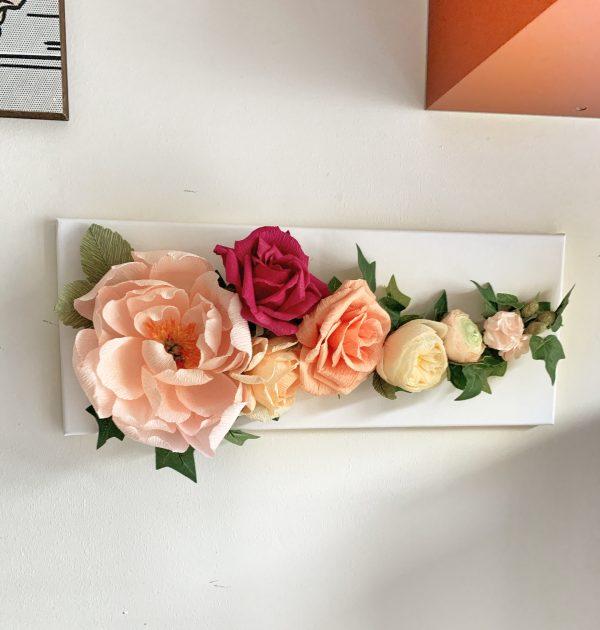 Canvas Crepe Paper Flowers Decoration