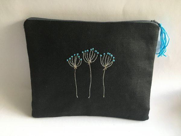 Zipped Black Linen Pouch