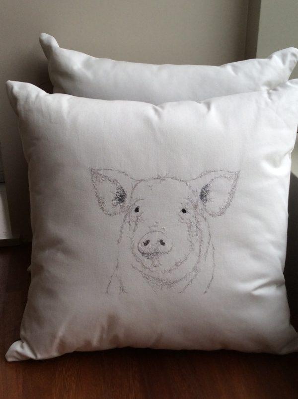 White Embroidered Pig Cushion - E34F25E3 599B 42FE B101 948F08CAA7D2 rotated