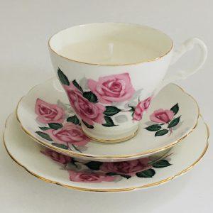 Teacup Candle - Pink Rose Royal Stuart Fine Bone China