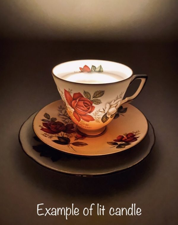 Teacup Candle - Floral Paragon Fine Bone China - Example of lit candle