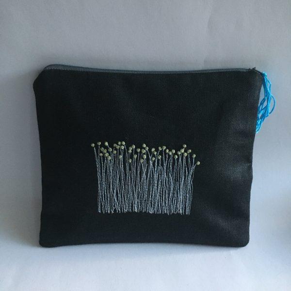 Black Irish Linen Zipped Pouch (blue lining) - F0428B11 0758 430E ADC1 B2FF99C31017 rotated