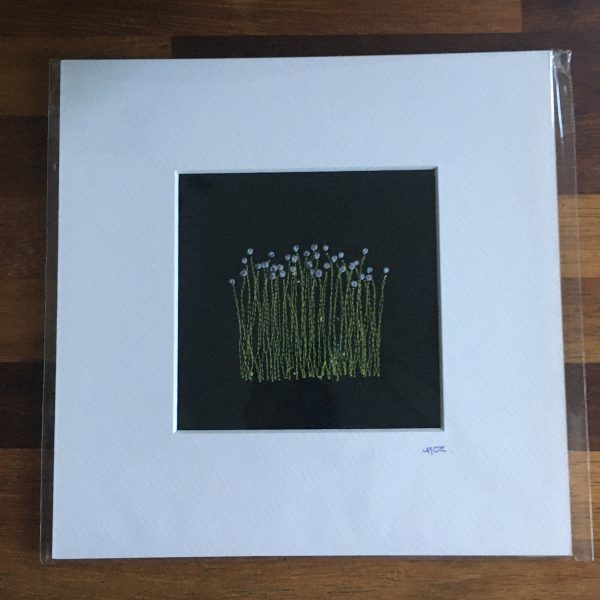 Flower Embroidery Wall Art (Black Reeds)
