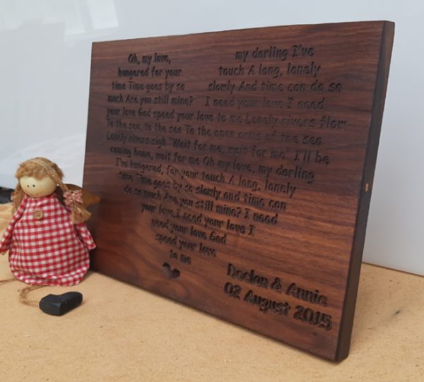 First Dance Engraved Wall Plaque (Large) - Walnut Piece 3