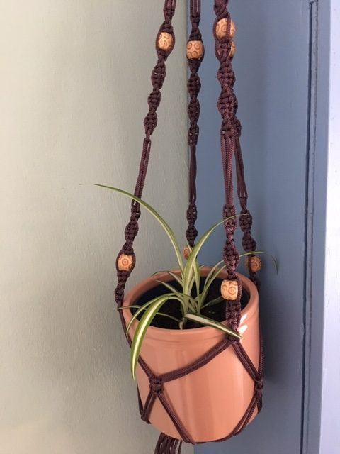 Aubergine Macrame Plant Hanger with Wooden Beads