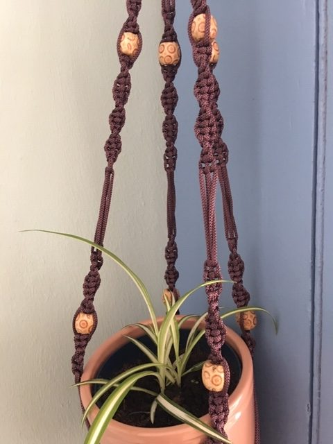 Aubergine Macrame Plant Hanger with Wooden Beads - aubergine ph3 rotated