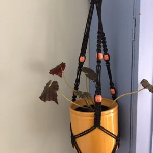 Black Macrame Plant Hanger with Orange Beads