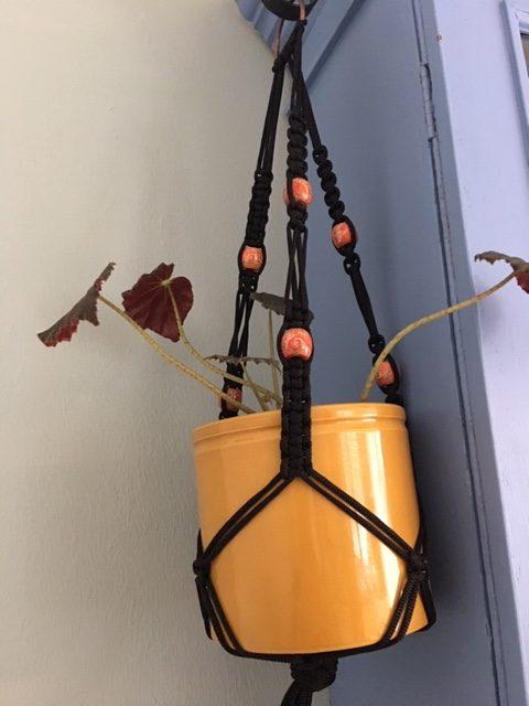 Black Macrame Plant Hanger with Orange Beads - black ph1 rotated