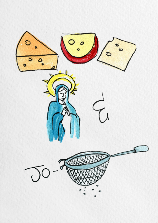 Cheesus, Mary & Jo-sieve Print - cheesus