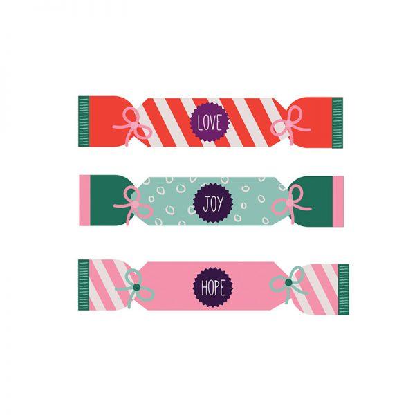 Love, Joy & Hope Christmas Cracker Card - crackers details