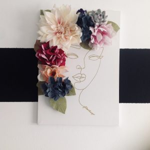 Flower Canvas With Face Silhouette