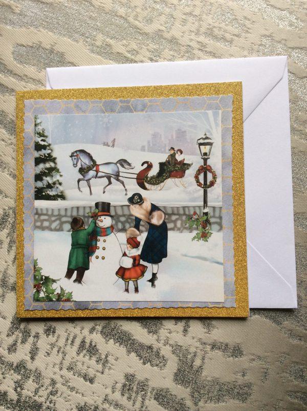 Snowman Art Deco Christmas Card