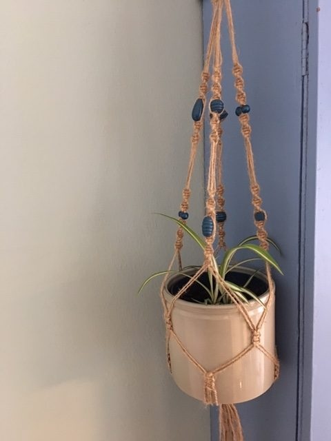 Twine Macrame Plant Hangers with Coloured Beads - twine db rotated