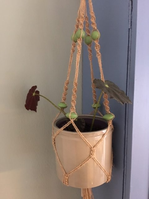 Twine Macrame Plant Hangers with Coloured Beads - twine lg rotated