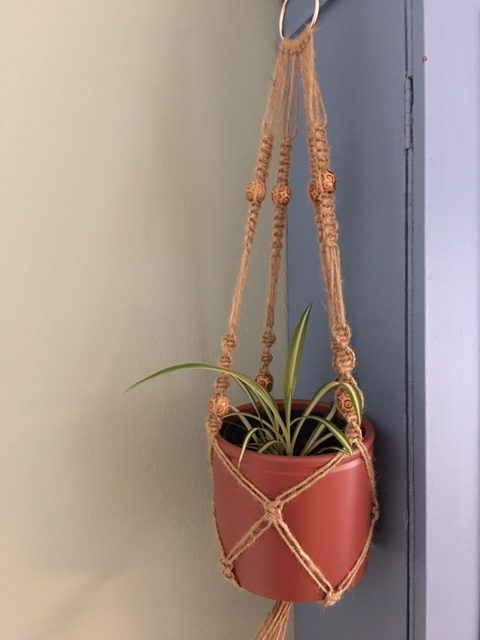 Twine Macrame Plant Hangers with Coloured Beads - twine naturel rotated