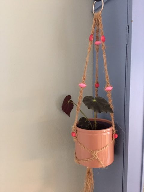 Twine Macrame Plant Hangers with Coloured Beads - twine pink rotated