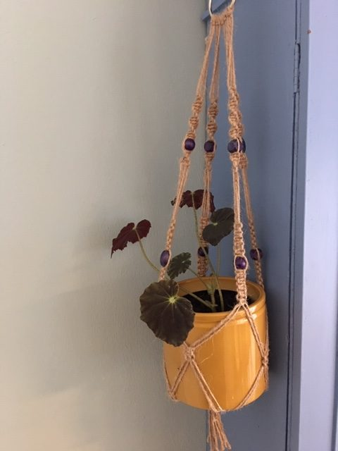 Twine Macrame Plant Hangers with Coloured Beads - twine purple rotated
