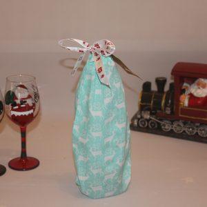Aqua Blue Festive Wine Bag