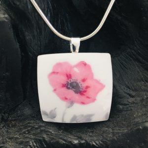 Vintage China Necklace - Pink Flower Roslyn Fine Bone China