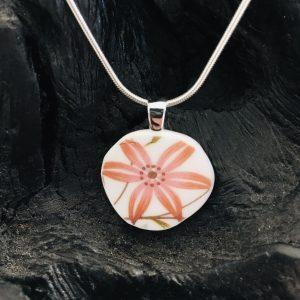 Vintage China Necklace - Star Flower Fine Bone China