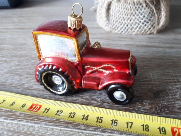 Red glass tractor - handmade Christmas tree decoration - 20200921 100524