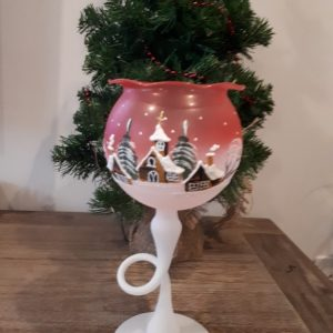 Christmas Glass Candle Holder - Tulip Red