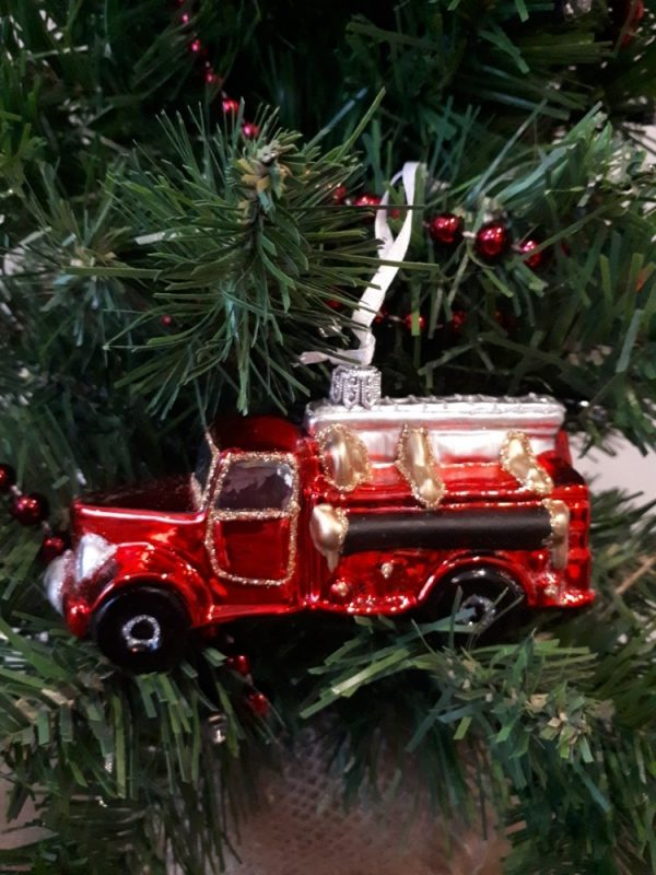 Fire engine Glass Christmas Tree Decoration