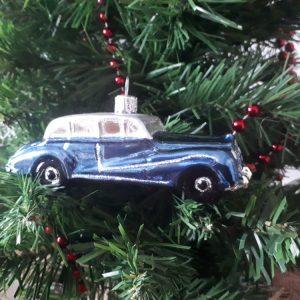 Vintage limo car Glass Christmas Tree Decoration (blue)