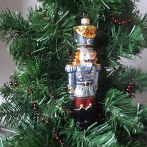Soldier Nutcracker Glass Christmas Tree Decoration