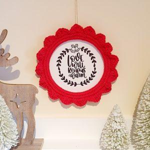 Crochet Christmas Frame Decoration