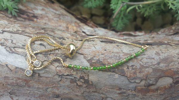 Chrome Diopside Slider Bracelet