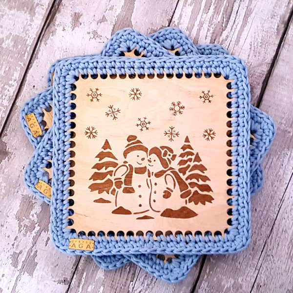 Set Of 2 Christmas Crotchet And Plywood Square Table Mat & Coaster - 20201113 110645
