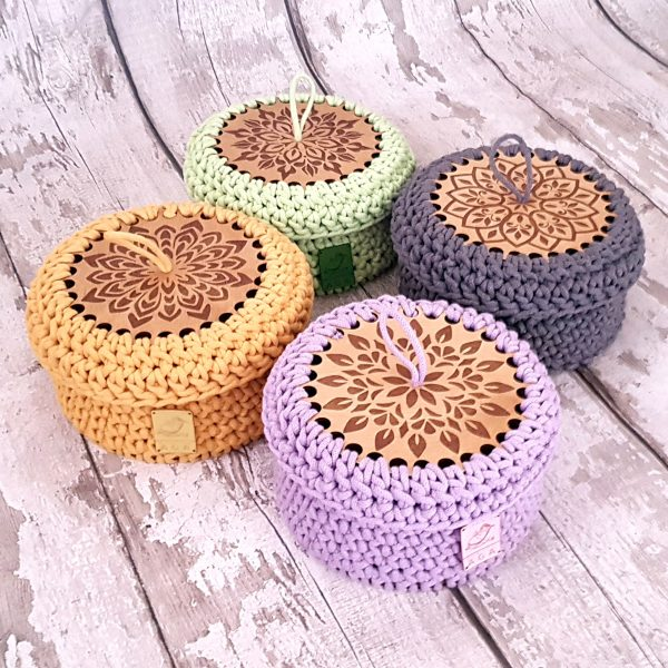 Sturdy Crochet Baskets with Wooden Base and Lid - 20201113 112411