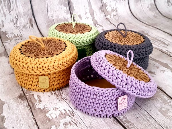 Sturdy Crochet Baskets with Wooden Base and Lid