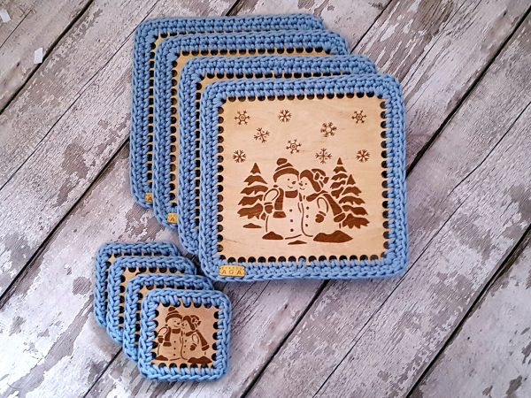 Set Of 2 Christmas Crotchet And Plywood Square Table Mat & Coaster - 20201113 113831