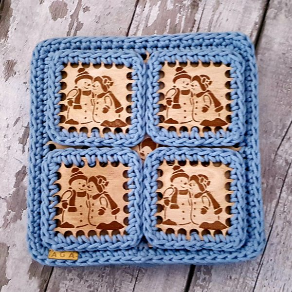 Set Of 2 Christmas Crotchet And Plywood Square Table Mat & Coaster - 20201113 113927