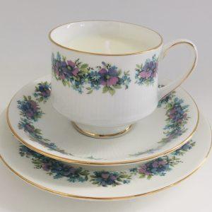 Teacup Candle - Purple & Blue Royal Standard Fine China