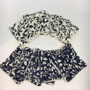 Reusable Wipes Floral (Navy)