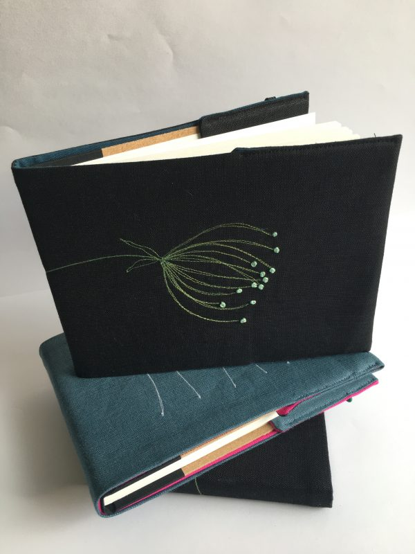 Black Embroidered Covered Sketchbook (Green) - 5412CD1A DC22 4028 BBB0 8B0AC3E95856 rotated