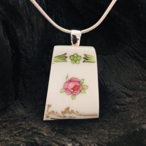 Vintage China Necklace - Rosebud Bisto Fine Bone China