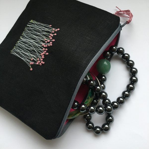 Zipped Black Linen Pouch (Pink Lining) - 60FFB310 84BB 49AF A07C F84EB65D561A scaled