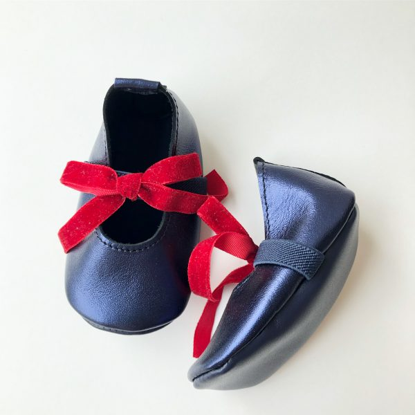 Leather Baby Ballerina Shoes with Bows