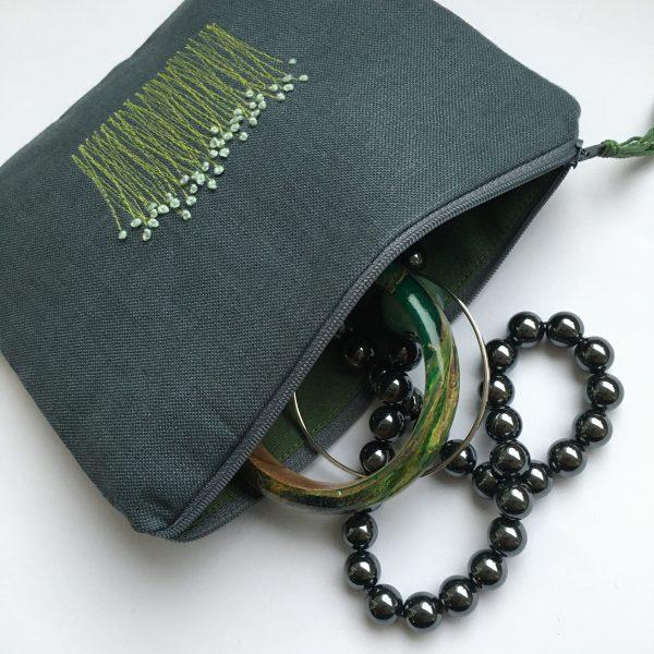 Grey Zipped Linen Pouch (green lining) - 6223763C 4BDD 4129 A207 F98327DC7E2A scaled