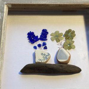 Seaglass Flowers Framed Art