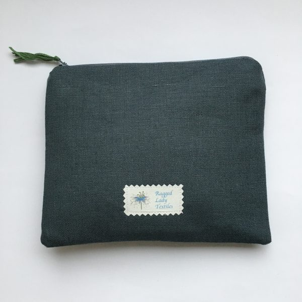 Grey Zipped Linen Pouch (green lining) - AE8535D7 72FB 4EAE A768 597407890ADC scaled