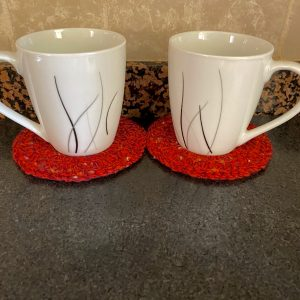 Red Speckled Crochet Coasters