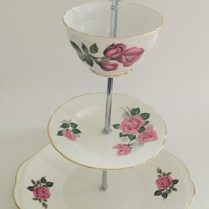 Cake Stand - 3 Tier Pink Rose Fine Bone China