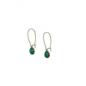 Brass teardrop green earrings
