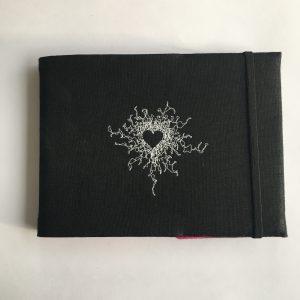Black Embroidered Covered Sketchbook (Heart)